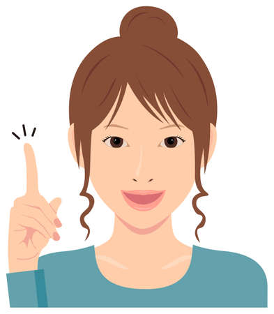 Young woman vector illustration (upper body)  idea,inspiration, good point, recommendation