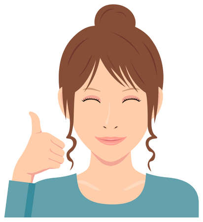 Young woman vector illustration (upper body)  thumb up with smiling
