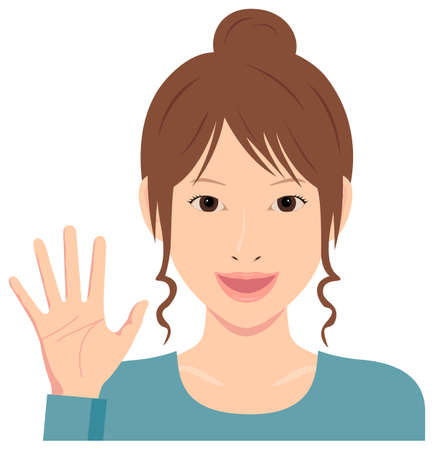 Young woman vector illustration (upper body) / open hand with smiling , good bye Çizim