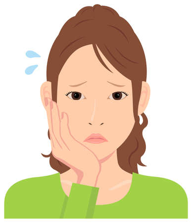 Ilustración de vector de mujer joven (parte superior del cuerpo) / depresión, preocupada,