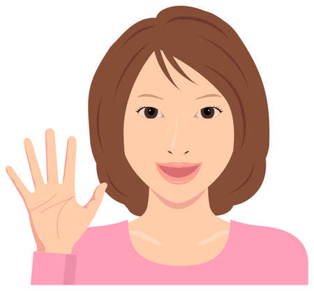 Young Woman Vector Illustration (upper body)  open hand with smiling , good bye  イラスト・ベクター素材