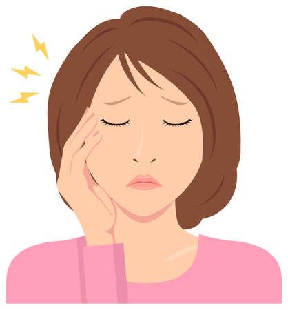 Young woman vector illustration (upper body) / headache, migrane Standard-Bild - 132927004