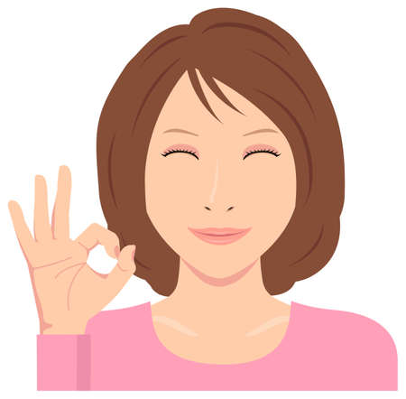 Young Woman Vector Illustration (upper body) / ok sign with smiling