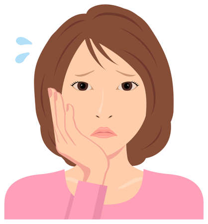 Young woman vector illustration (upper body) / depression,, troubled, Standard-Bild - 132927005