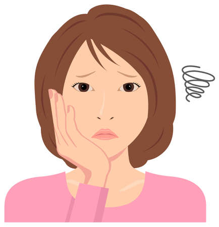 Young woman vector illustration (upper body)  depression,, troubled,