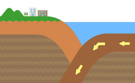 Continental crust and Oceanic crust. Sectional view vector illustration. No text. Illustration