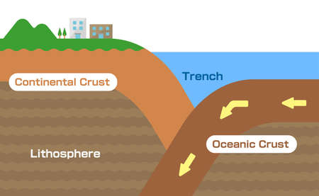 Continental crust and Oceanic crust. Sectional view vector illustration.