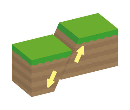 Fault type vector illustration (3 dimensions) / Normal fault