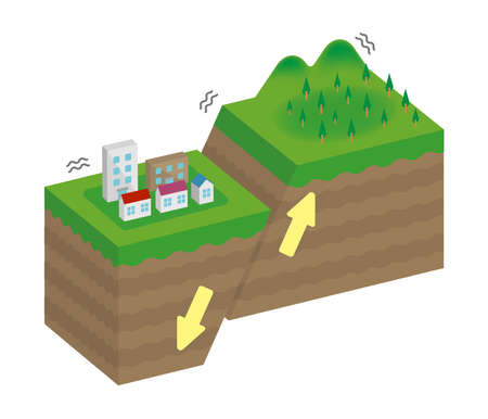 Fault type vector illustration (3 dimensions)  Normal fault