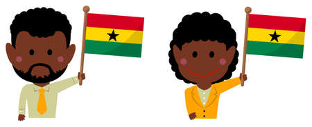 Cartoon business person of various races with national flags  Ghana . Flat vector illustration. Illustration