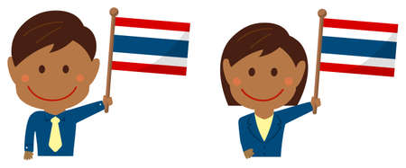 Cartoon business person of various races with national flags  Thailand . Flat vector illustration. Illustration