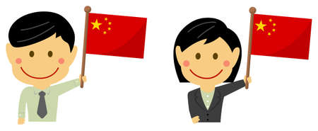 Cartoon business person of various races with national flags  China . Flat vector illustration.