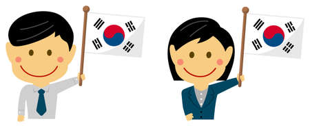 Cartoon business person of various races with national flags  South korea . Flat vector illustration.