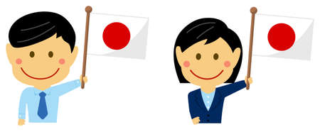 Cartoon business person of various races with national flags  Japan . Flat vector illustration.