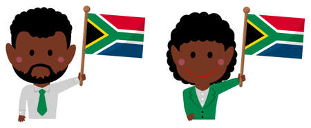 Cartoon business person of various races with national flags  South africa . Flat vector illustration. Illustration