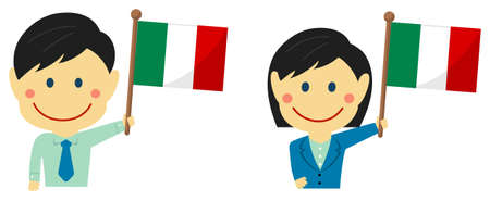 Cartoon business person of various races with national flags  Italy . Flat vector illustration. Illustration