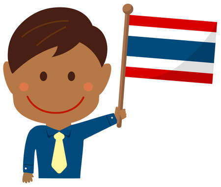 Cartoon Business Man with National Flags  Thailand . Flat vector illustration.
