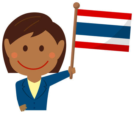 Cartoon Business Woman with National Flags  Thailand . Flat vector illustration. Illustration