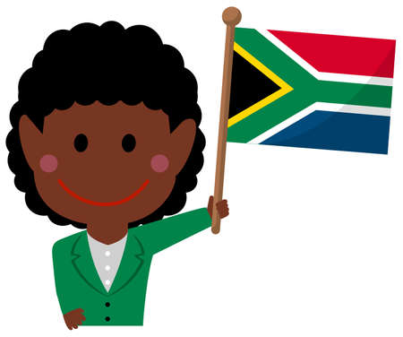 Cartoon business woman with national flags  South africa. Flat vector illustration.