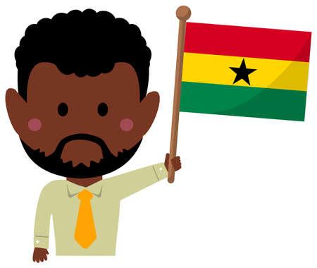 Cartoon business man with national flags  Ghana. Flat vector illustration.