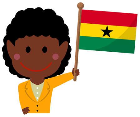 Cartoon business woman with national flags  Ghana. Flat vector illustration.