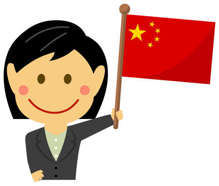 Cartoon business woman with national flags China. Flat vector illustration.