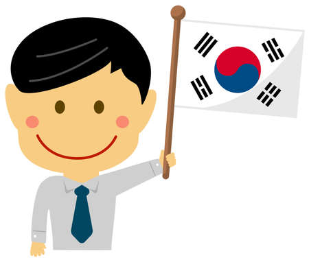 Cartoon business man with national flags  South korea. Flat vector illustration.