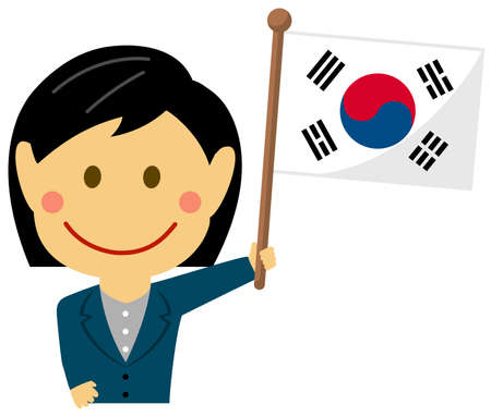 Cartoon business woman with national flags  South korea. Flat vector illustration.