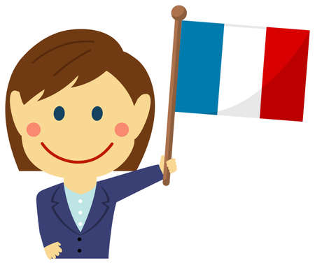 Cartoon business woman with national flags  France . Flat vector illustration.