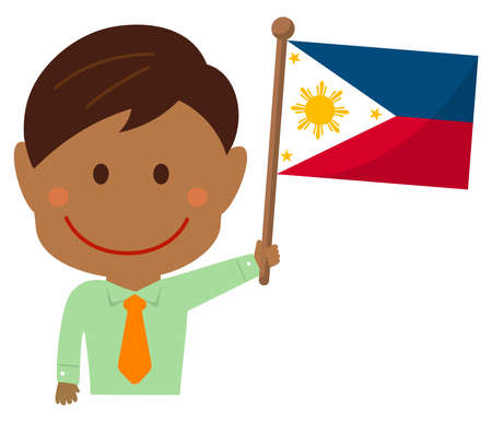 Cartoon business man with national flags  Philippines. Flat vector illustration. 向量圖像