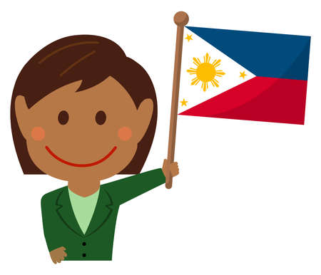 Cartoon business woman with national flags / Philippines. Flat vector illustration.