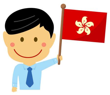 Cartoon business man with national flags  Hong kong. Flat vector illustration.
