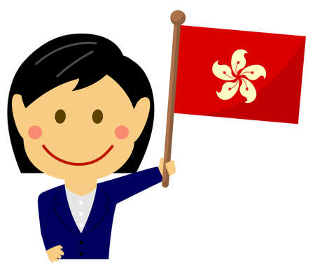 Cartoon business woman with national flags  Hong kong. Flat vector illustration. 向量圖像