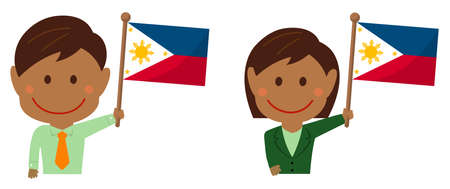 Cartoon business person with national flags / Philippines. Flat vector illustration.