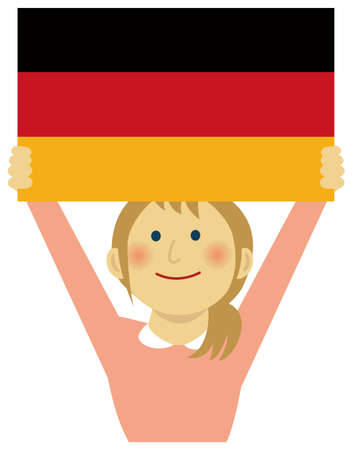 Cartoon woman with national flags / Germany ( upper body). Flat vector illustration.