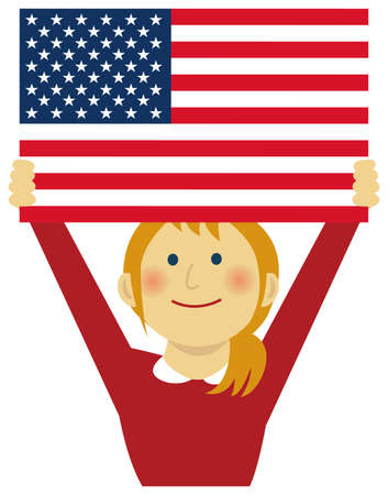 Cartoon woman with national flags  USA ( upper body). Flat vector illustration. Illustration
