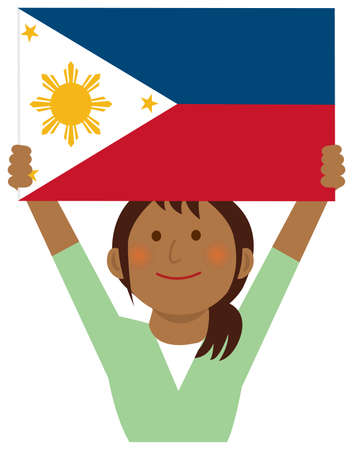 Cartoon woman with national flags / Philippines ( upper body). Flat vector illustration.