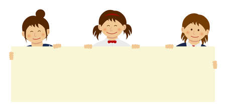 Female students holding horizonal blank banner with smiling. flat vector illustration.