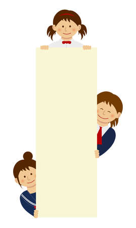 Female students holding vertical blank banner with smiling. flat vector illustration.
