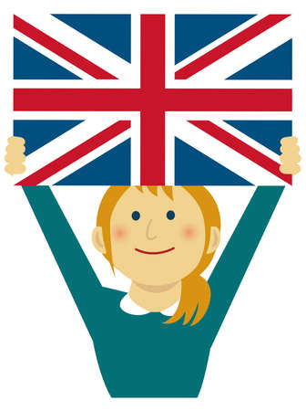 Cartoon woman with national flags  UK ( upper body). Flat vector illustration.