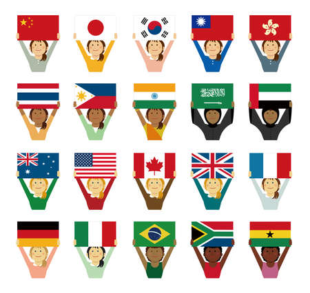 Cartoon woman with national flags set. Flat vector illustration. Ilustracja