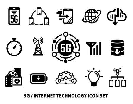 5G (Next-generation high-speed communication) vector flat icon set
