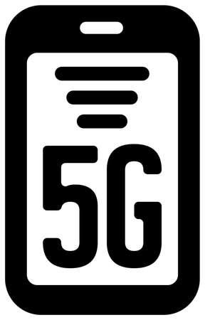 5G (Next-generation high-speed communication) vector flat icon  smartphone Ilustracja