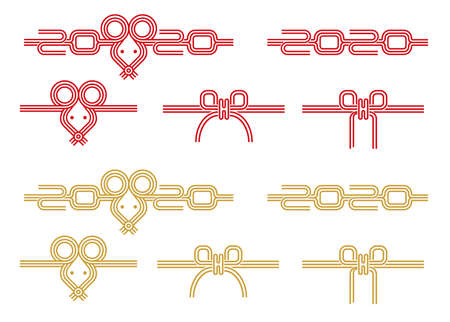 Japanese mizuhiki (traditional decorative cord made from twisted paper) set for new year greeting card (2020  mouse, rat, 2020 Ilustracja