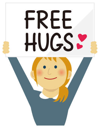 Cartoon young woman holding a free hugs placard. Flat vector illustration. Ilustracja