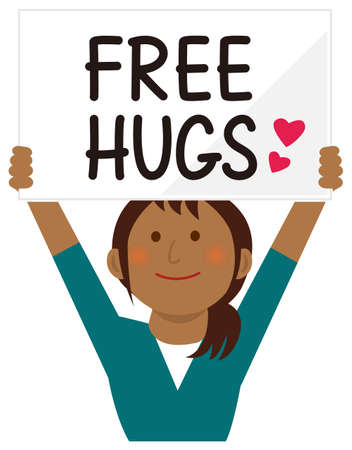 Cartoon young woman holding a free hugs placard. Flat vector illustration. Ilustrace