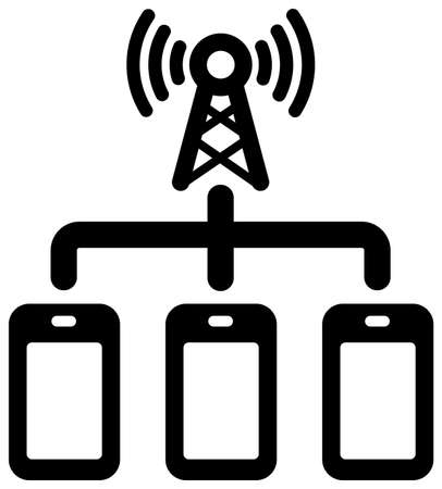 5G (Next-generation high-speed communication) vector flat icon  simultaneous connection
