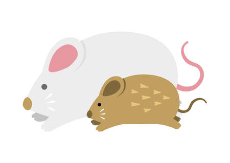 Running mouses (parent and child) illustration for New year greeting card ( 2020 )
