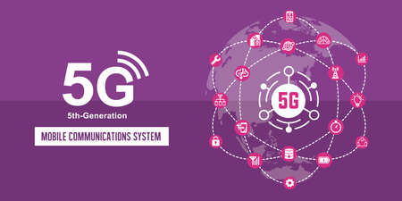5G (5th-generation high-speed mobile communication system) vector banner illustration 向量圖像