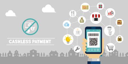Paiement sans numéraire (paiement par code QR, paiement par smartphone) illustration vectorielle de bannière